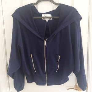 Aiko Navy Cropped Cocoon Open Back Hoodie